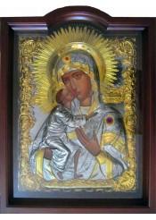 Храмовая икона Феодоровской Божией Матери большого размера 60 х 80 см