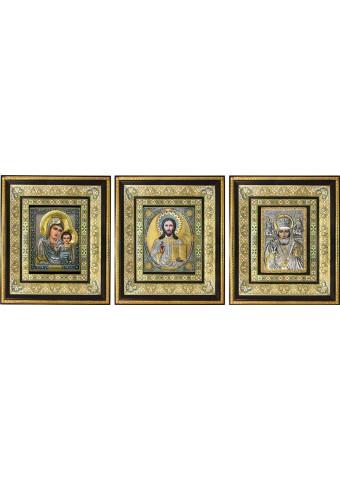 Комплект из трех икон: Господь Вседержитель, Богородица и Николай Чудотворец 35 х 41 см