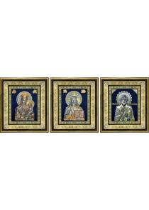 Комплект из трех икон: Господь Вседержитель, Божья Матерь «Скоропослушница» и Николай Чудотворец 40 х 45,5 см