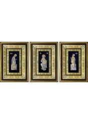 Комплект из трех икон: Господь Вседержитель, Божья Матерь «Заступница» и Николай Чудотворец 29 х 40,5 см