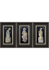 Комплект из трех икон: Господь Вседержитель, Божья Матерь «Заступница» и Николай Угодник 18,5 х 29 см