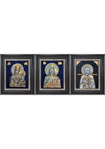 Комплект из трех икон: Господь Вседержитель, Божья Матерь «Скоропослушница» и Николай Угодник 34 х 40 см