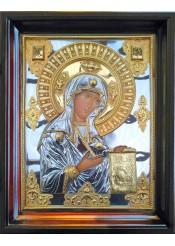 Храмовая икона Боголюбской Божией Матери в деревянной рамке 43 х 55,5 см