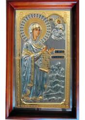 Храмовая икона Боголюбской Божией Матери большого размера 49,5 х 80,5 см
