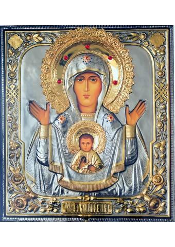 Большая храмовая икона Божией Матери «Знамение» 52,5 х 59 см