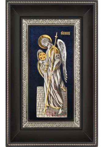 Ростовая икона Архангела Гавриила в деревянной рамке 18,5 х 29 см