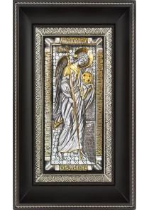 Ростовая икона Архангела Михаила на металлической подложке 18,5 х 29 см