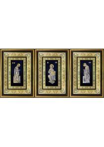 Иконы Деисус: Господь Вседержитель, Божья Матерь и Иоанн Креститель 29 х 40,5 см