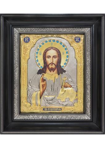 Икона Господа Вседержителя в деревянной рамке 26,5 х 31 см