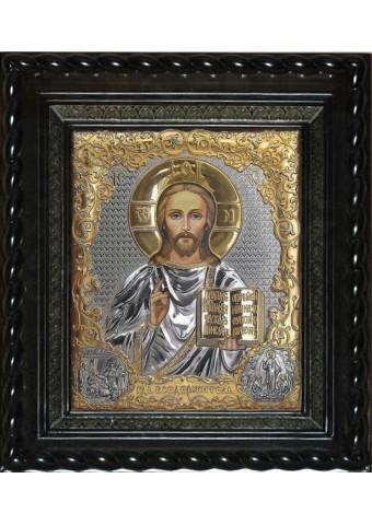 Писаная икона Христа Спасителя под стеклом 28 х 32 см