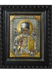 Писаная икона святого Николая Чудотворца под стеклом 29 х 33 см