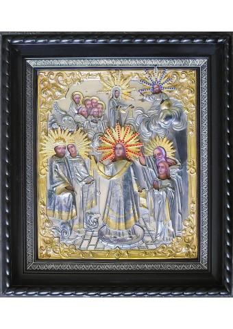 Икона Покрова Пресвятой Богородицы в деревянной рамке 38 х 42 см