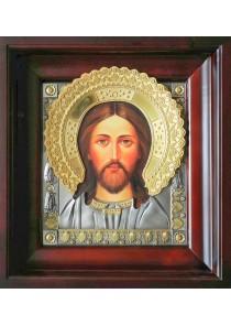 Икона Спас Оплечный в деревянной рамке 36 х 39 см