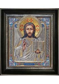 Икона Спасителя Иисуса Христа в деревянной рамке 35 х 39,5 см