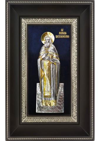 Икона святого Алексея Бортсурманского в деревянной рамке 18,5 х 29 см