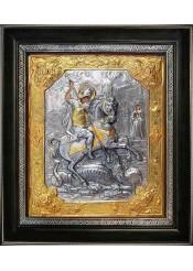 Икона святого великомученика Георгия Победоносца убивающего змея 31 х 35 см