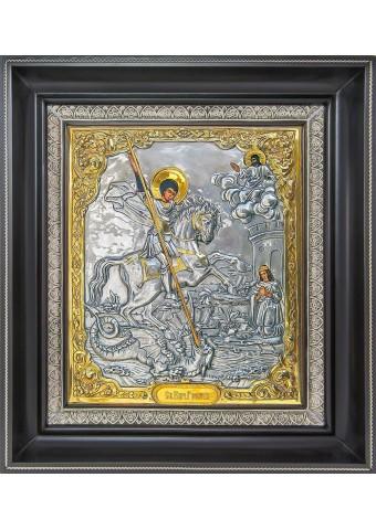 Икона святого великомученика Георгия Победоносца на коне 34 х 39 см