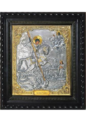 Икона святого Георгия Победоносца под стеклом 35 х 40 см