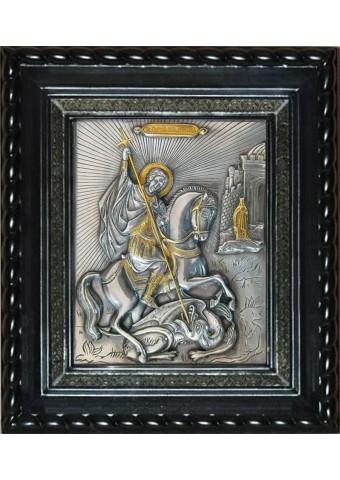 Икона великомученика Георгия Победоносца под стеклом 25 х 29 см
