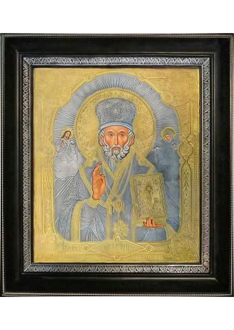 Икона святого Николая Чудотворца в деревянной рамке 36 х 40,5 см