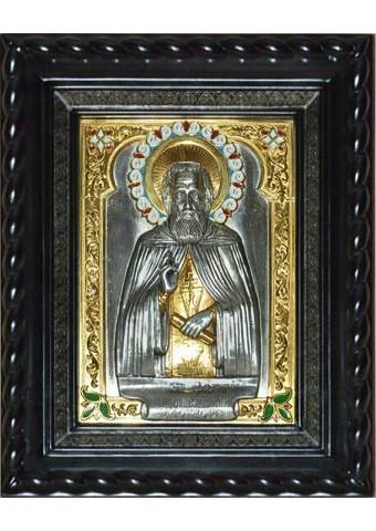 Икона святого Сергия Радонежского под стеклом 28 х 33 см