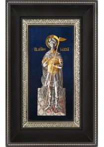 Икона святого Валерия Севастийского в деревянной рамке 18,5 х 29 см