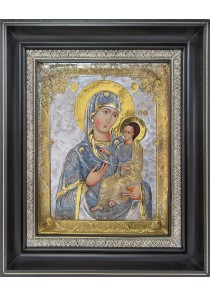 Иверская икона Божией Матери в деревянной рамке 33 х 41 см