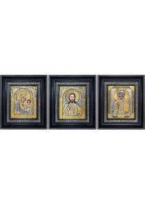 Комплект из трех икон: Господь Вседержитель, Богородица и Николай Угодник 23,5 х 27 см