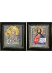 Икона Божией Матери «Троеручица» и Спаситель 36 х 40,5 см