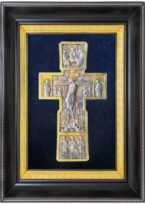 Икона Распятие Иисуса Христа на кресте в деревянной рамке 28,5 х 40 см