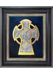 Икона Распятие Иисуса Христа на кресте в деревянной рамке 34 х 40 см