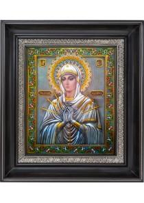 Семистрельная (Умягчение злых сердец) икона Божией Матери в деревянной рамке 37 х 44,5 см