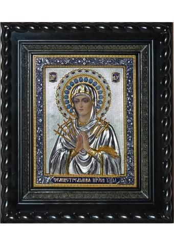 Семистрельная икона Божией Матери под стеклом 28 х 32 см