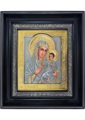 Тихвинская икона Божией Матери в деревянной рамке 31 х 35 см