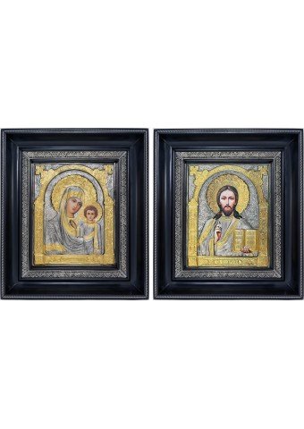 Казанская икона Божией Матери и Господь Вседержитель: венчальная пара икон 23,5 х 27 см