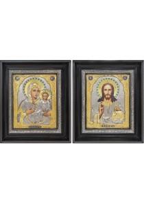 Венчальная пара икон: Господь Вседержитель и Смоленская икона Божьей Матери 26,5 х 31 см