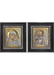 Казанская Божья Матерь и Господь Вседержитель: венчальная пара икон 26,5 х 31 см