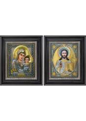 Казанская икона Богородицы и Господа Вседержителя: венчальная пара икон 27 х 31 см