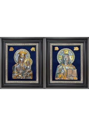 Икона Божией Матери «Скоропослушница» и Господь Вседержитель: венчальная пара икон 34 х 40 см
