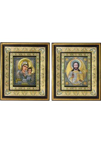 Казанская икона Богородицы и Спасителя: венчальная пара икон 35 х 41 см
