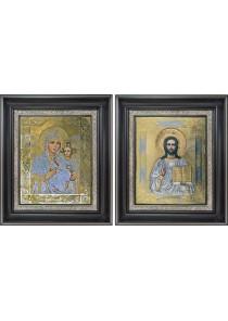 Тихвинская икона Богородицы и Господь Вседержитель: венчальная пара икон 26,5 х 31 см