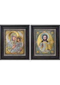 Тихвинская икона Божией Матери и Господь Вседержитель: венчальная пара икон 27 х 31 см