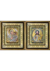 Тихвинская икона Богородицы и Спасителя: венчальные иконы 35 х 41 см