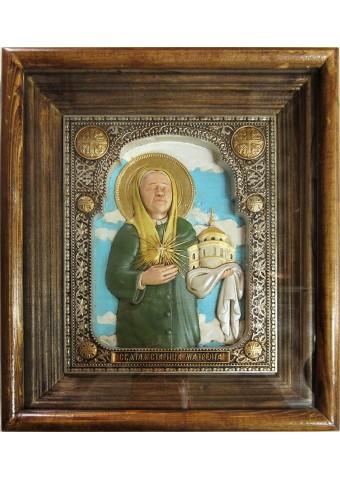 Икона святой Матроны Московской под стеклом 28 х 32 см (керамика)