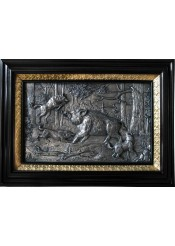 Панно на стену из металла «Охота на кабана» 34,5 х 25,5 см