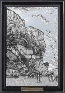 Металлическое панно на стену «Бахчисарай. Успенский монастырь. Вид 1846 г.» 36 х 52 см