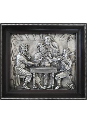 Панно на стену из металла «Евреи, играющие в карты» 30 х 26 см