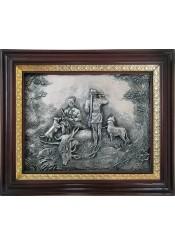 Панно на стену из металла «Охотники» 28 х 35 см