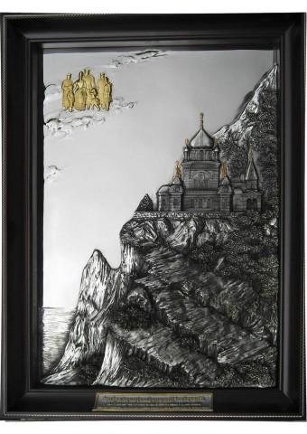 Металлическое панно на стену «Форос. Церковь Вознесения Христова» 36 х 52 см