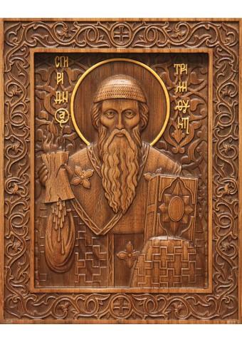 Резная икона икона святого Спиридона Тримифунтского из дерева